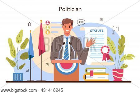 Politician Concept. Idea Of Election And Democratic Governance. Political Party