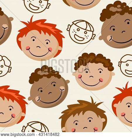 A Child's Pattern Of Children's Faces On A Beige Background.