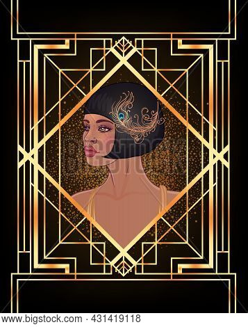 Retro Fashion Glamour Girl Of Twenties African American Woman. Vector Illustration. Flapper 20s Styl