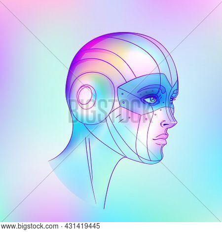 Portrait Of Robot Android Woman In Retro Futurism Style. Vector Illustration . Of A Cyborg In Glowin
