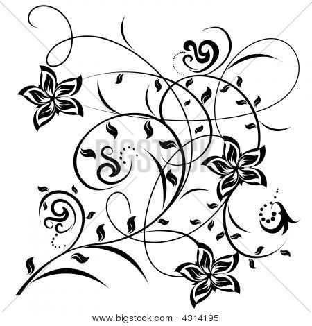 Decorative flowers on color background vector illustration. Please see some similar pictures from my portfolio. poster
