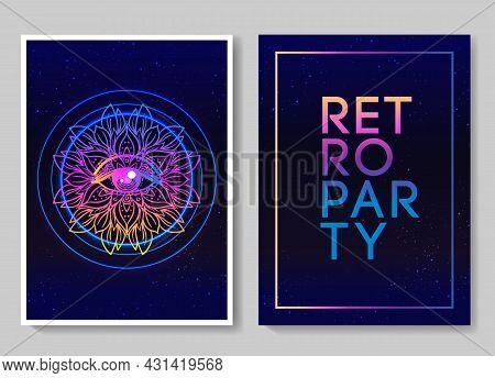 Retro Futurism Flyer Set. Vector Futuristic Synth Wave Illustration. 80s Retro Poster Background. Go