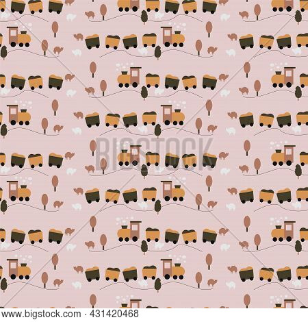 Shape Seamless Pattern With Cute Steam, Trees And Sheep, Steam Locomotives In Pastel Colors For Chil