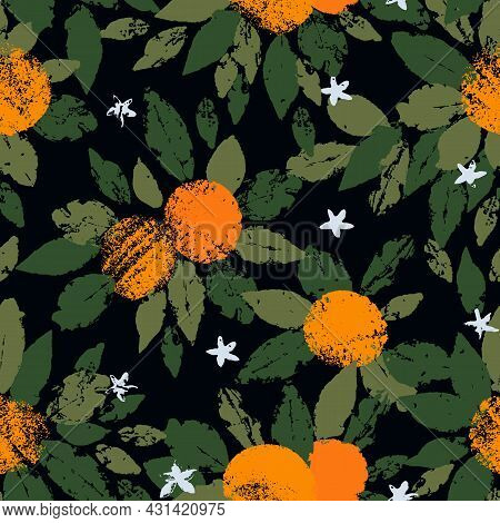 Hand Drawn Seamless Pattern Of Orange Fruit With Leaves In The Stamp Technique. Vector Illustration