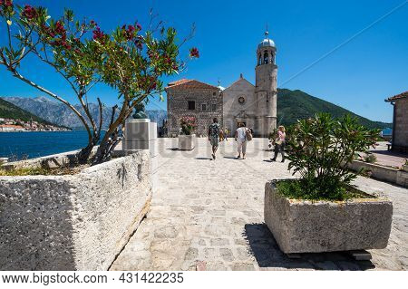 Perast, Montenegro - 30 June, 2019: Church Our Lady Of The Rocks In Perast,  In The Bay Of Kotor, Mo