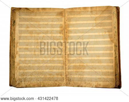 Old Blank Musical Book Isolated On White