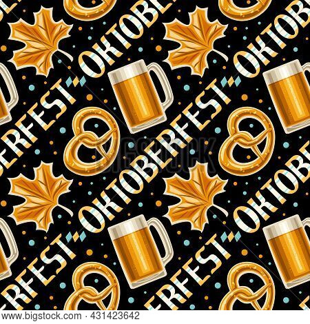 Vector Oktoberfest Seamless Pattern, Square Repeating Background For Oktoberfest, Decorative Poster