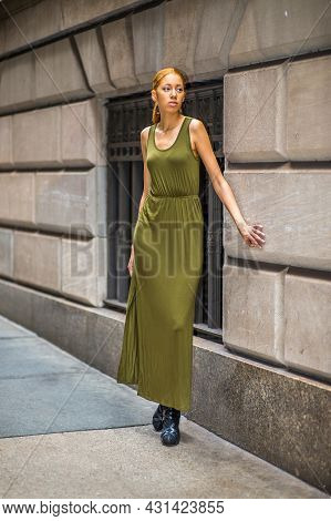 Girl Waiting For You. Dressing In A Green, Long Maxi Tank Dress,  Black Dress Sandals, A Young Black