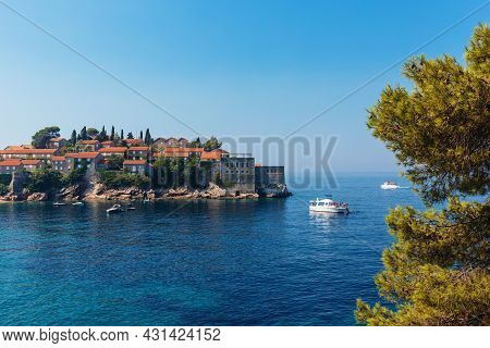 Amazing View Of The Sea And Sveti Stefan Island From The Hill,  Montenegro. Beautiful Sunny Day.