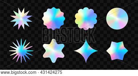 Color Stickers Mockup. Blank Labels Of Different Shapes, Circle Wrinkled Paper Emblems. Stickers Or