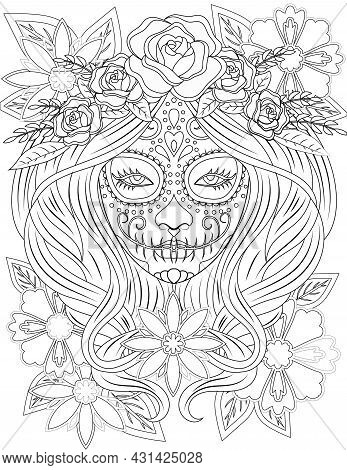 Tattooed Lady Face Line Drawing With Long Hair Wearing Beautiful Floral Head Dress. Head Of A Woman
