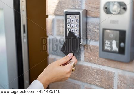 Attaching Card To The Electronic Reader To Access The Office Or Apartment, Close-up. Card Entry, Per