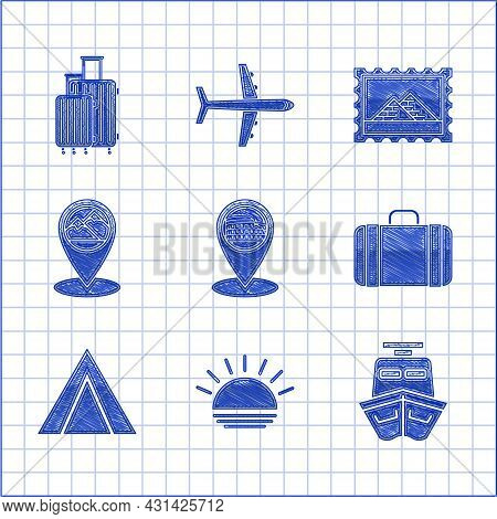 Set Map Pointer With Coliseum In Rome, Italy, Sunset, Ship, Suitcase For Travel, Tourist Tent, Mount