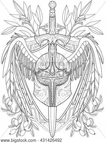 Illustration Of Fantastic Hard Warrior Helmet With Pierced Long Sword And Large Wings. Weapon Run Th