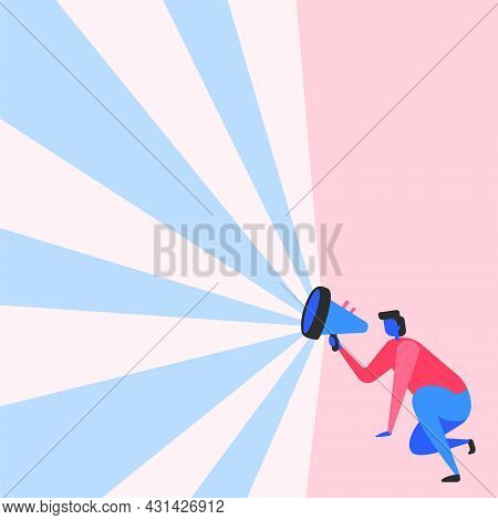 Illustration Of A Businessman Kneeling Using Megaphone In One Hand Making Wonderful New Announcement