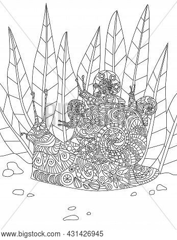 Illustration Of Dedicated Mother Snail Carrying Her Little Babies On Thier Home From Forest. Hardwor