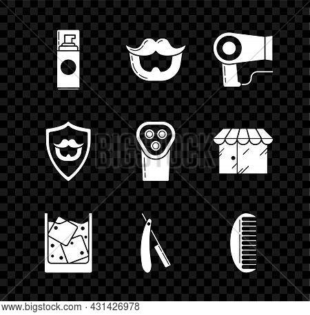 Set Shaving Gel Foam, Mustache And Beard, Hair Dryer, Glass Of Whiskey Ice Cubes, Straight Razor, Ha