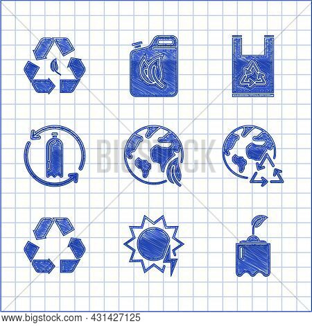 Set Earth Globe And Leaf, Solar Energy Panel, Sprout In Bottle, Planet Earth Recycling, Recycle Symb
