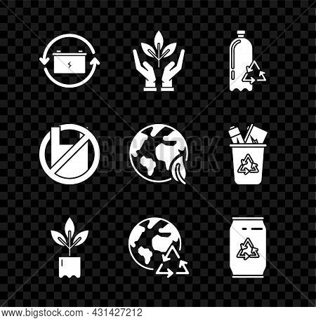 Set Battery With Recycle Symbol, Plant In Hand Of Environmental Protection, Recycling Plastic Bottle
