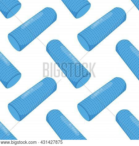 Foam Roller Seamless Pattern. Myofascial Release Equipment. Vector Illustration.