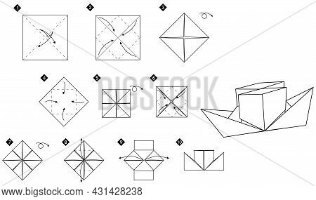Origami Two-pipe Paper Steamer. Monochrome Black And White Vector Illustration.do-it-yourself Ship S