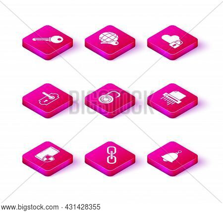 Set Smartphone With Security Shield, Chain Link, Door Handle, Safe Combination Lock Wheel, Ringing B