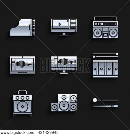 Set Sound Or Audio Recorder On Monitor, Stereo Speaker, Drum Sticks, With Drum, Guitar Amplifier, La