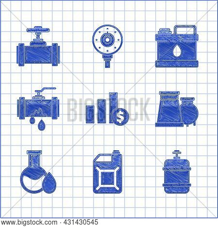Set Pie Chart Infographic And Dollar, Oil Industrial Factory Building, Petrol Test Tube, Broken Meta