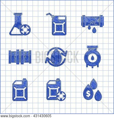 Set Oil Drop, Antifreeze Canister, With Dollar Symbol, And Gas Industrial Factory Building, Canister