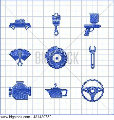 Set Car Brake Disk With Caliper, Canister For Motor Machine Oil, Steering Wheel, Wrench, Check Engin