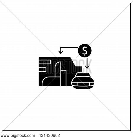 Asset Value Glyph Icon. Showing Total Assets Value Company Or Organization. Car, Enterprise. Busines