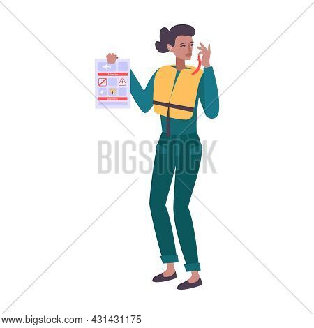 Stewardess In Life Vest Holding Briefing Card Giving Instructions Before Flight Flat Vector Illustra