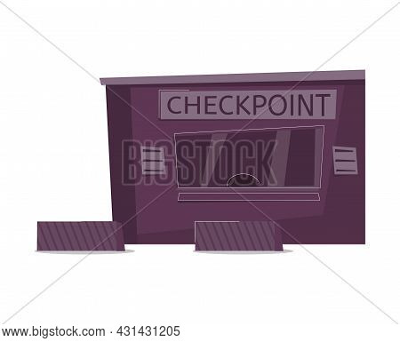 Customs Control Zone Icon With Flat Building Of Checkpoint Vector Illustration