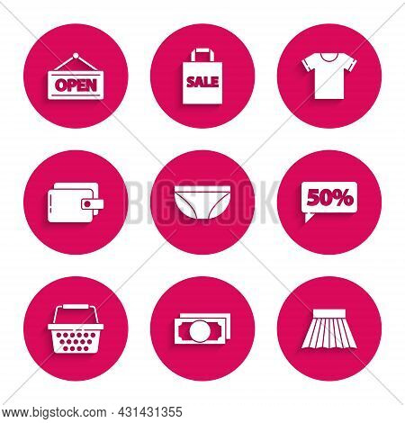 Set Underwear, Stacks Paper Money Cash, Skirt, Fifty Discount Percent Tag, Shopping Basket, Wallet,