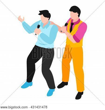 Two Men With Microphones Singing In Karaoke Isometric Vector Illustration