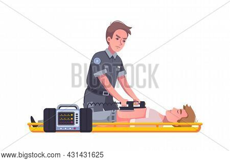 Emergency Cartoon Icon With Male Paramedic Using Defibrillator Vector Illustration