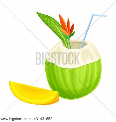 Bright Exotic Cocktail In Coconut With Straw As Tropical Refreshing Drink Vector Illustration