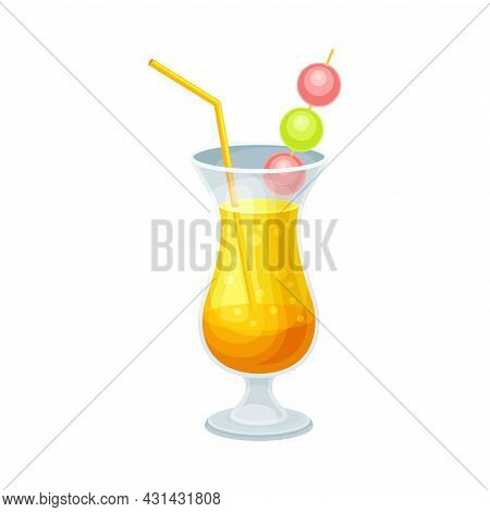 Bright Exotic Cocktail In Glass With Straw As Tropical Refreshing Drink Vector Illustration
