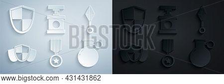 Set Military Reward Medal, Japanese Ninja Shuriken, Shield, Hand Grenade, Handle Detonator For Dynam