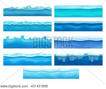 Blue Water Surface With Ice And Curved Waves Vector Set