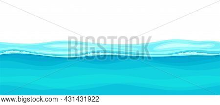 Blue Water Surface With Curved Waves Vector Illustration