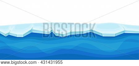 Blue Water Surface With Ice And Frozen Solid Layer Vector Illustration