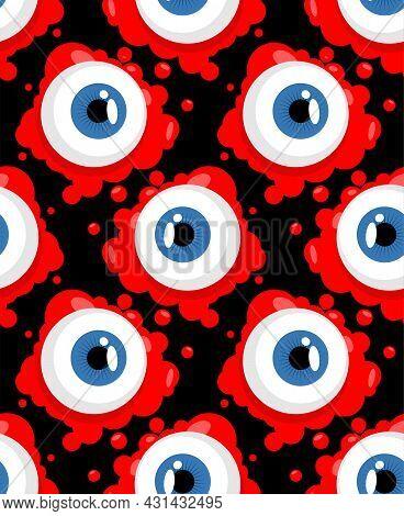 Eyeball Pattern Seamless. Eye And Blood Background. Halloween Vector Ornament