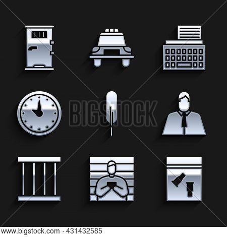 Set Feather Pen, Suspect Criminal, Evidence Bag And Bullet, Lawyer, Attorney, Jurist, Prison Window,