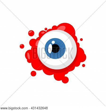 Eyeball. Eye And Blood. Halloween Vector Illustration