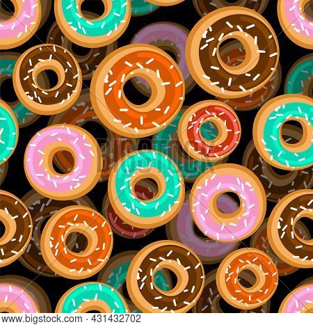Donut Pattern Seamless. Donuts Background. Vector Ornament