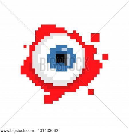 Eyeball Pixel Art. 8 Bit Eye And Blood. Pixelated Halloween Vector Illustration
