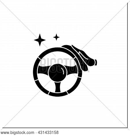 Car Disinfection Glyph Icon.taxi, Carsharing Hand Wheel Interior Cleaning With Antibacterial Wipe.pu