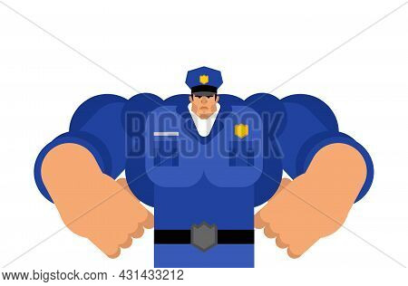 Strong Police Officer Isolated. Policeman Cop Vector Illustration