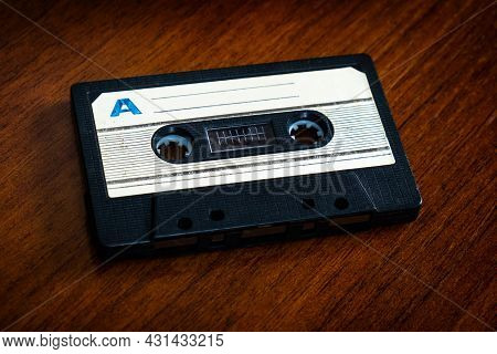 Old Audio Cassette On The Table Closeup